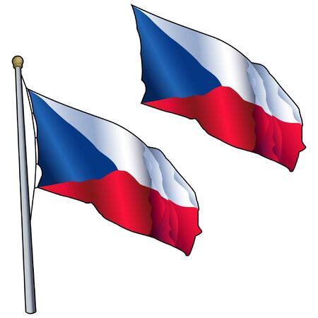 Waving Czech Republic Flag on Flagpole