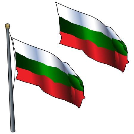Waving Bulgaria Flag on Flagpole