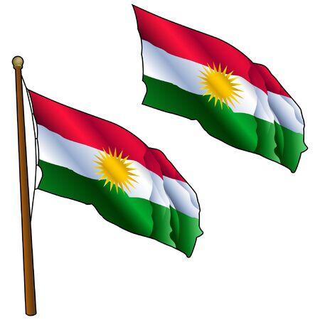 Waving Kurdistan Flag on Flagpole Çizim