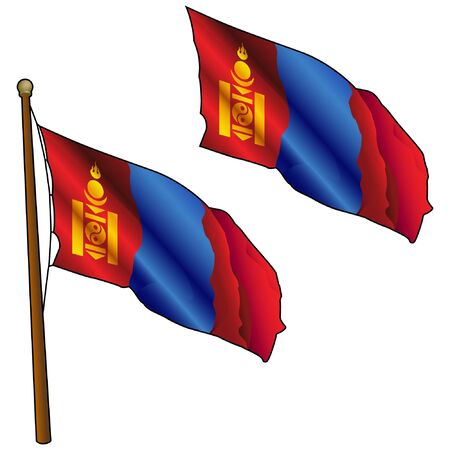 Waving Mongolia Flag on Flagpole