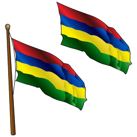 Waving Mauritius Flag on Flagpole