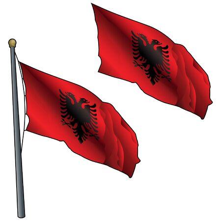 Waving Albania Flag on Flagpole