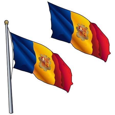 Waving Andorra Flag on Flagpole Illustration