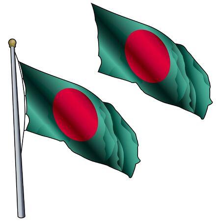 Waving Bangladesh Flag on Flagpole Illusztráció