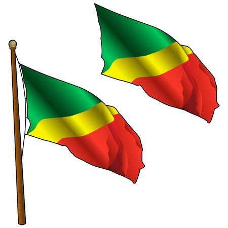 Waving Congo Flag on Flagpole