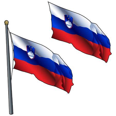 Waving Slovenia Flag on Flagpole