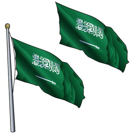 Waving Saudi Arabia Flag on Flagpole