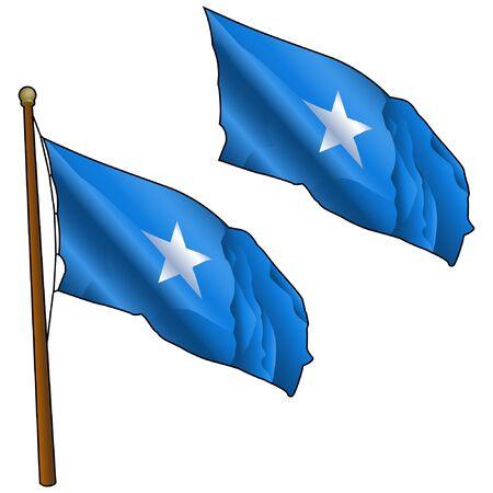 Waving Somalia Flag on Flagpole
