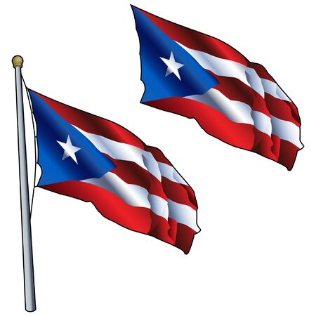 Waving Puerto Rico Flag on Flagpole