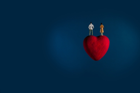 love of planet: The heart float in space.Imagine for planet of love.