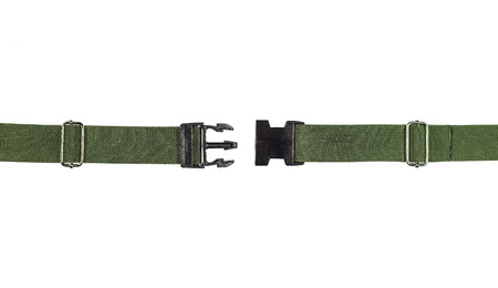 un used: Side release buckle from plastic with green belt nylon on the white background. Stock Photo
