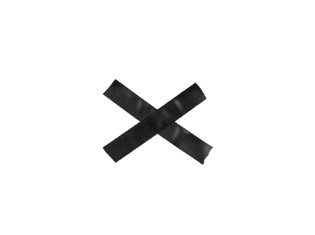Black X sign from plastic tape on the white background. Stok Fotoğraf