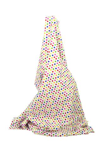 Simulate long skirt pattern poka dot on the white background.