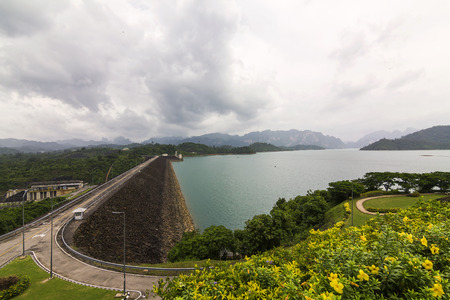 Landscape of dam. Place for travel in south of Thailand.