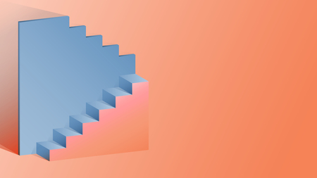 Step and wall in isometric shape. Used color pink and blue shade.