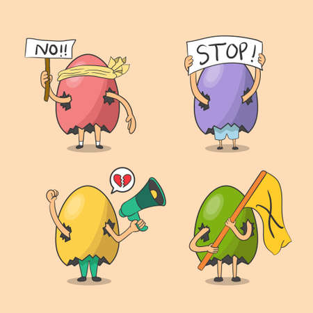 Illustration vector graphic of the human in the egg is protesting, demonstrating and complaining. Mascot character hand drawn style