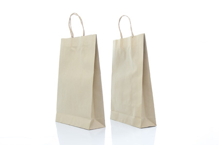 mulburry paper bag on white background isolated photo