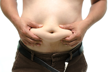 Fat male body part on white background isolated photo