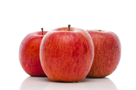 Close up of red apples on white background isolated Stock Photo