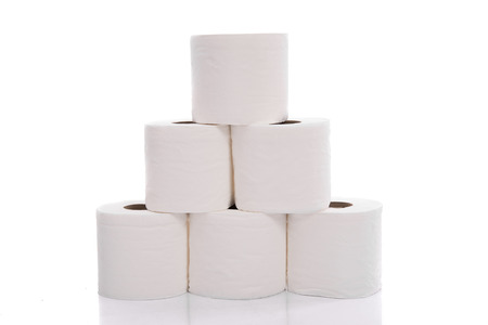 toilet roll: Rolls of toilet paper isolated on white background