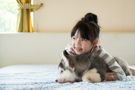 Little asian girl hugging a siberian husky puppy on bed photo
