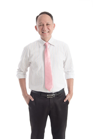 Portrait of Asian business man on white background isolated