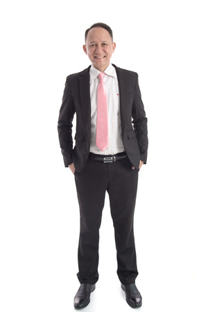 joyful businessman: Portrait of Asian business man on white background isolated