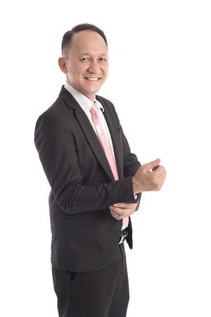 jubilados: Retrato de hombre de negocios de Asia en el fondo blanco aislado