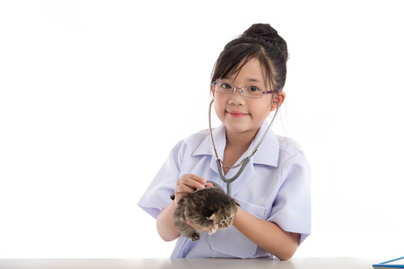 kitten: Little asian girl playing veterinarian with kitten on white background isolated