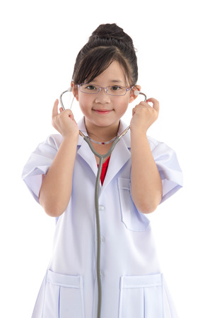 asian doctor: Beautiful asian girl in a doctors uniform on white background isolated