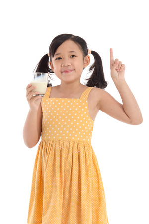 white moustache: Cute asian child drinking milk on white background isolated