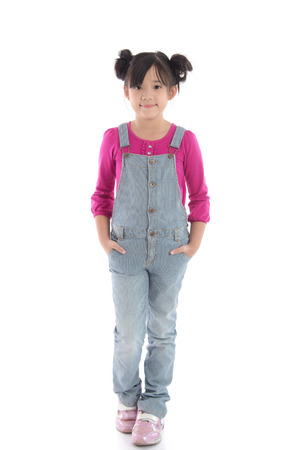 Portrait of beautiful asian girl in overalls on white background isolated
