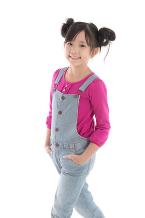 studio happy overall: Portrait of beautiful asian girl in overalls on white background isolated