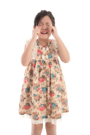 crying eyes: asian girl crying on white background isolated