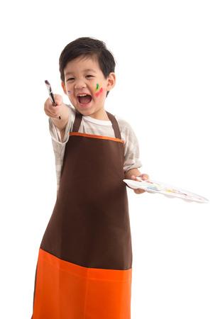 Cute little pittura asiatica ragazzo isolato su sfondo bianco Archivio Fotografico - 43587532