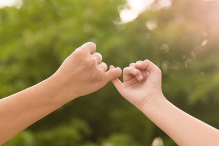 pinkie: Mother and daughter making a pinky promise on nature background Stock Photo