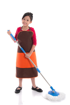 Portrait of  asian girl cleaning with mop on white background isolated