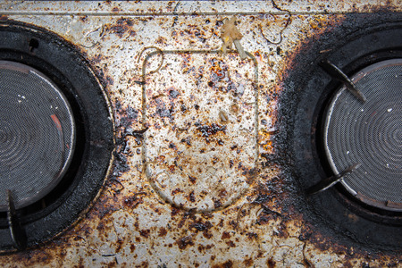 Close up of very dirty gas burner in the kitchen