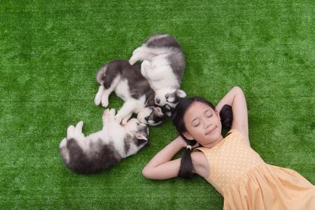 puppy love: Muchacha asi�tica linda que miente con sus cachorros en la hierba verde Foto de archivo