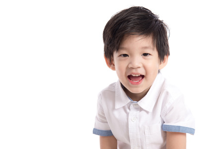 Close up happy little asian boy on white background isolated Stock Photo