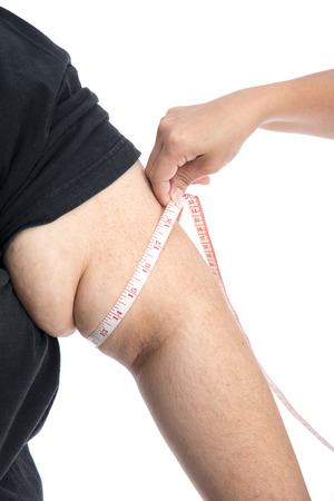 arm: Arm with overweight on white background isolated