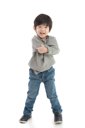 cross ties: Happy little asian boy on white background isolated