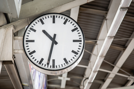 subway platform: Big clock on subway platform Stock Photo