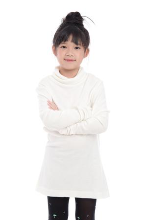 turtleneck: Cute asian girl in white turtleneck dress on white background isolated Stock Photo