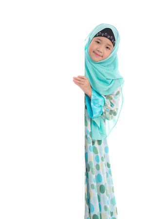 advertising woman: Portrait of asian muslim girl  with an empty banner on white background isolated