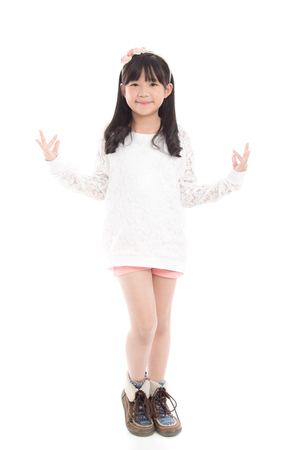 thai dancing: Beautiful asian girl dancing on white background isolated