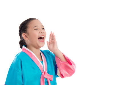 mouth cloth: Asian girl in Korean Traditional Dress shouting loud on white background isolated Stock Photo