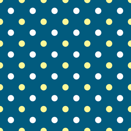 White and yellow polka dots on blue background Stock Photo