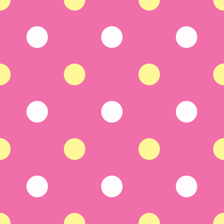 in shape: White and yellow polka dots on pink background Stock Photo