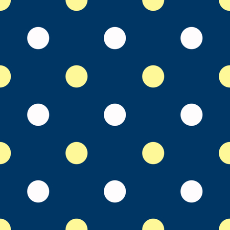 oxford: White and yellow polka dots on blue background Stock Photo